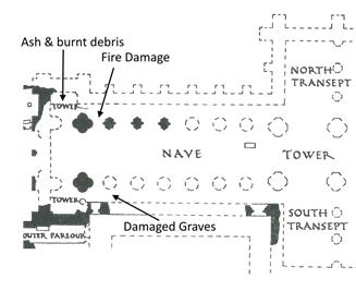Annoted Plan of the West End showing fire damage