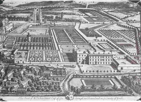 An engraving of garden in 1709 by Kipps and Knyff, showing the Old Hall and the formal gardens before the Monk's Walk was developed.
