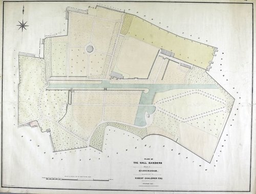 A plan dated 1854 showing a simpler version of the Monk's Walk. The paths in the centre have gone.